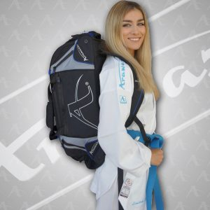 Person wearing Blue Arawaza Technical Sports Backpack