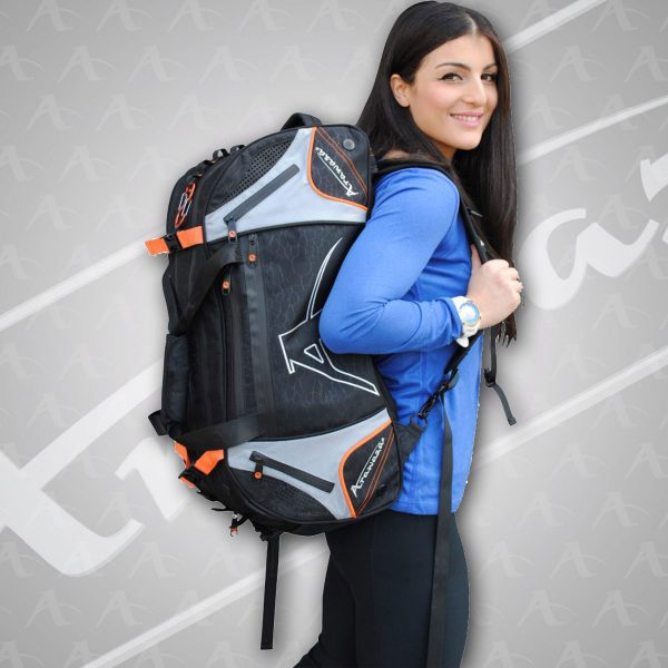 Person wearing Orange Arawaza Technical Sports Backpack