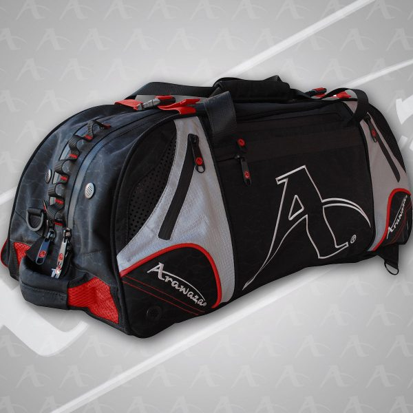 A red Arawaza Technical Sports Backpack