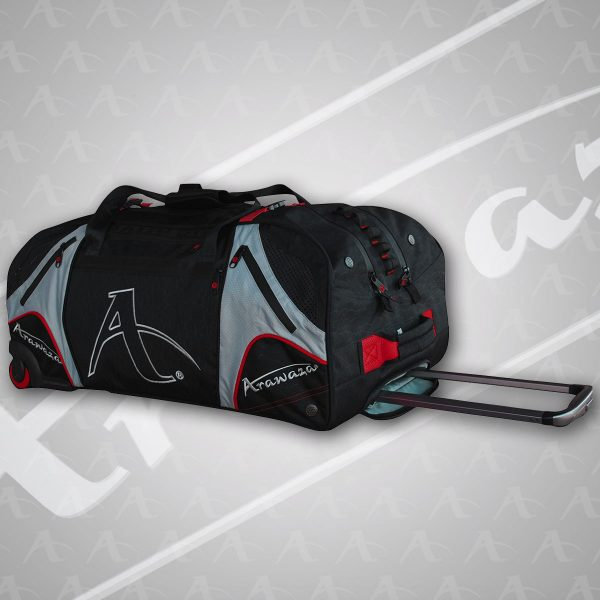 A red Arawaza Technical Sports Bag with Wheels